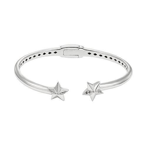 White Topaz Sterling Silver Star Hinged Cuff Bracelet