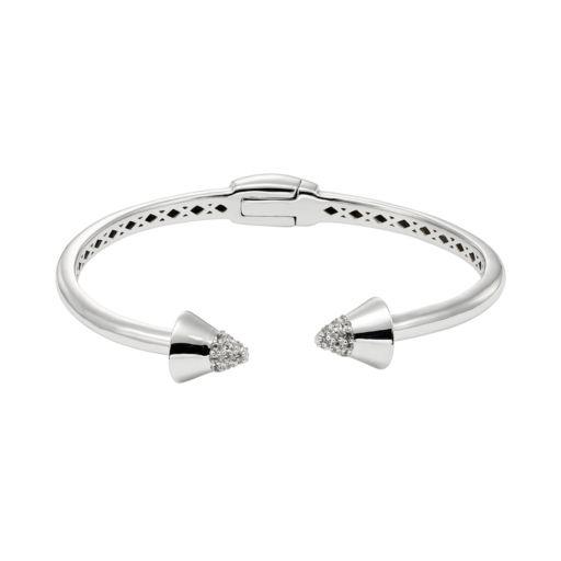 White Topaz Sterling Silver Spike Hinged Cuff Bracelet