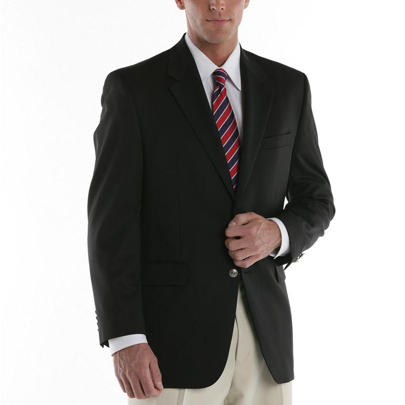 Men's Chaps Wool-Blend 2-Button Blazer, Size: 48 Long, Black
