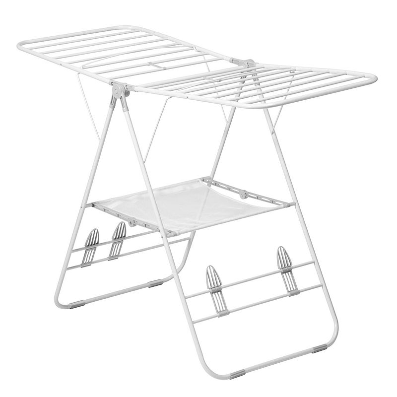 Honey-Can-Do Gullwing Garment Drying Rack, Adult Unisex, Size: DRY RACK, White Clothes last longer with this drying rack from Honey-Can-Do. In white.FEATURES 37''H x 64''W x 24''D Provides up to 46' of drying space 4 shoehorns Mesh sweater drying rack for even air flow Collapsible frame for easy storage CONSTRUCTION & CARE Steel, plastic Wipe clean Manufacturer's lifetime limited warrantyFor warranty information please click here  Size: DRY RACK. Gender: unisex. Age Group: adult. Material: Steel/Plastic.