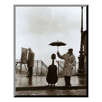 Art.com ''Musician in the Rain'' Wood Wall Art by Robert Doisneau
