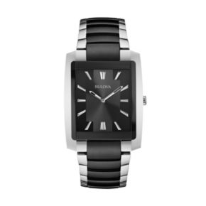 Bulova Men's Two Tone Black Ion-Plated Stainless Steel Watch - 98A117