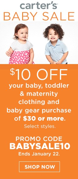 online exclusive baby sale. 20 percent off. Promo code baby20.