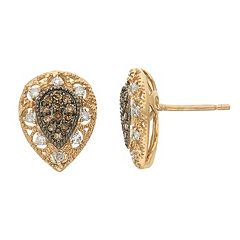 YellOra 1/4 Carat T.W. Champagne & White Diamond Teardrop Stud Earrings