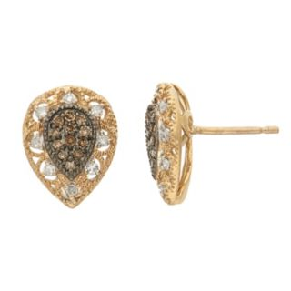 YellOra 1/4 Carat T.W. Champagne and White Diamond Teardrop Stud Earrings