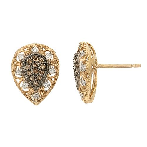 YellOra 1/4 Carat T.W. Champagne & White Diamond Teardrop Stud Earrings