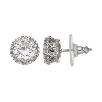 Simulated Crystal Crown Stud Earrings