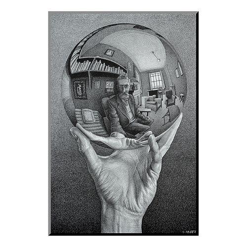 Art.com \'\'Hand with Globe\'\' Wood Wall Art by M.C. Escher
