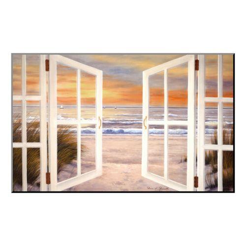 """Art.com """"Sunset Beach"""" Wood Wall Art"""