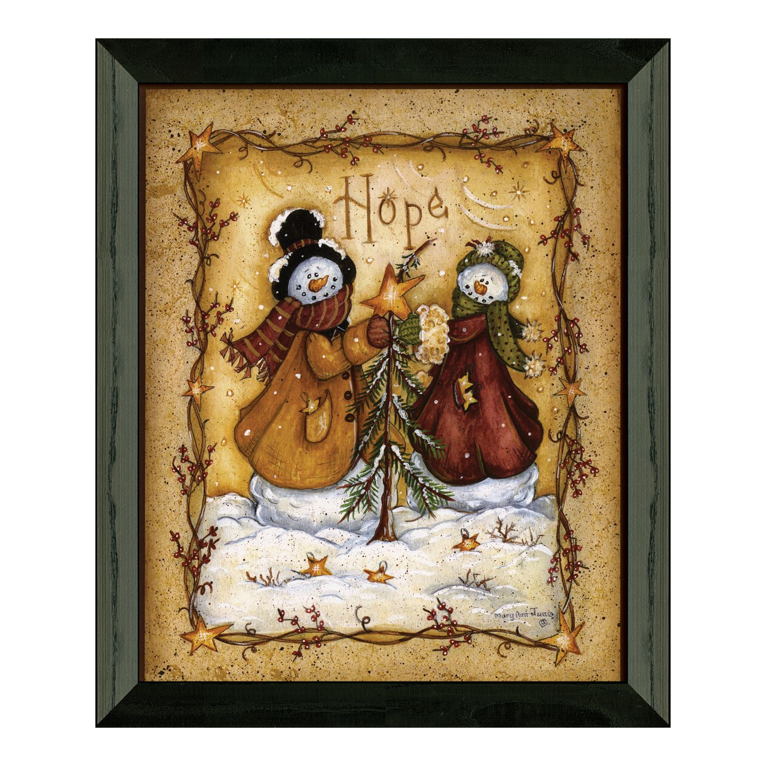 Timeless Frames Snow Folk U0027u0027Hopeu0027u0027 Framed Wall Art