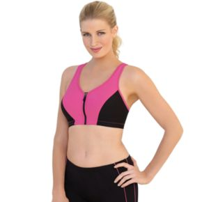 Glamorise Bra: Zip-Front Full-Figure Underwire High-Impact Sports Bra 1266