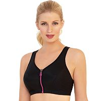 Glamorise Bra: Zip-Front Full-Figure Underwire High-Impact Sports Bra 1266