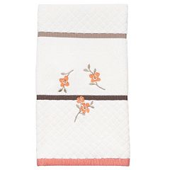 Coral Garden Embroidered Floral Hand Towel