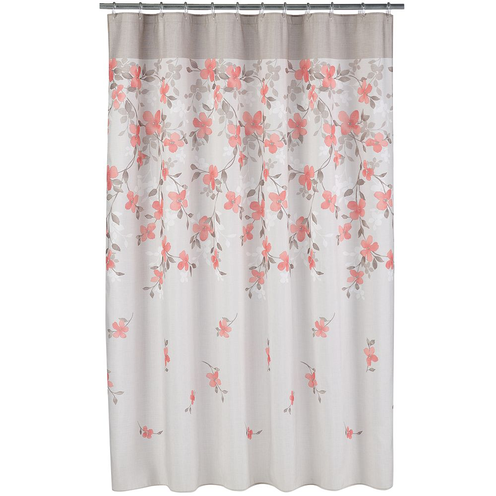 orange floral shower curtain.  Coral Garden Floral Fabric Shower Curtain