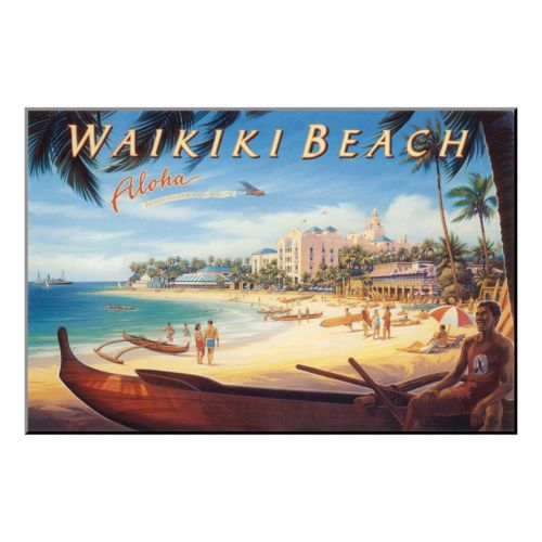 Art.com ''Waikiki Beach'' Wood Wall Art