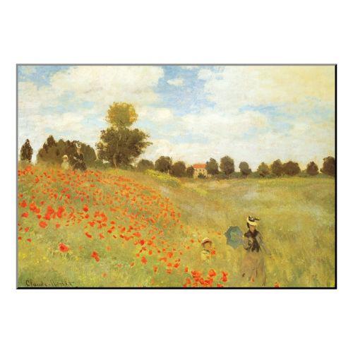 Art.com ''Field of Poppies, c. 1886'' Wood Wall Art by Claude Monet