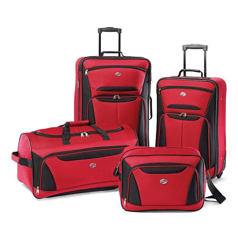 American Tourister Fieldbrook II 4-piece Luggage Set, Red Black