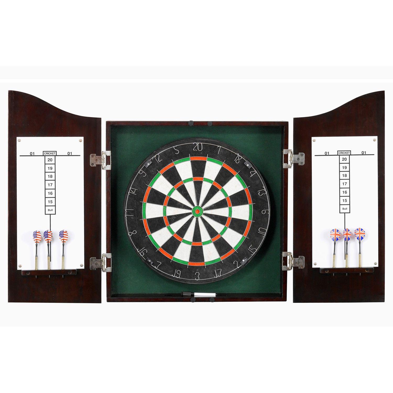 Hathaway Centerpoint Sisal Bristle Dartboard U0026 Wooden Cabinet Set