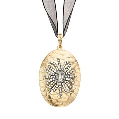 Sophie Miller Cubic Zirconia 14k Gold Over Silver Spider Ribbon Pendant Necklace - 18 in.