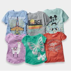 array of graphic tees