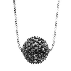 Sophie Miller Cubic Zirconia Sterling Silver Ball Pendant Necklace