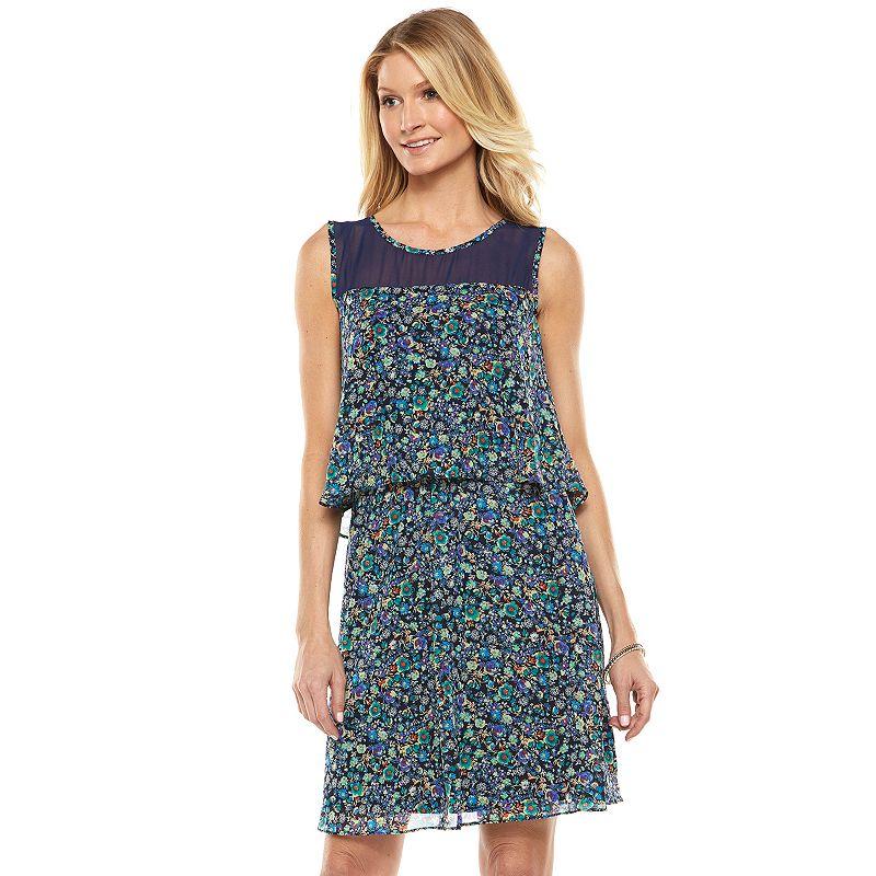 ab studio print chiffon popover dress women s size by ab studio 5 0