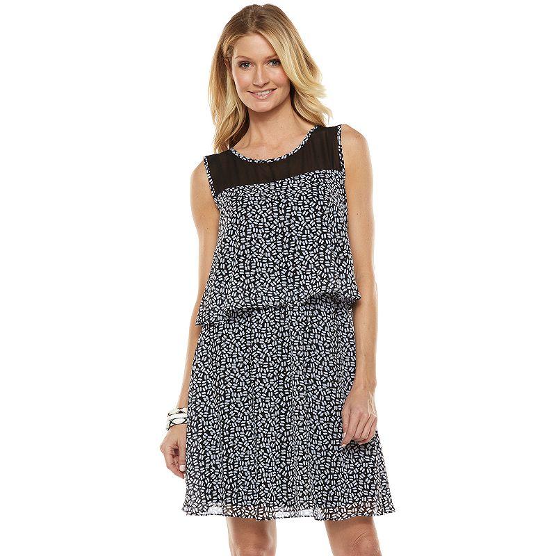 ab studio print chiffon popover dress women 39 s size
