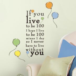 Disney Winnie the Pooh ''Live to be 100'' Wall Decals