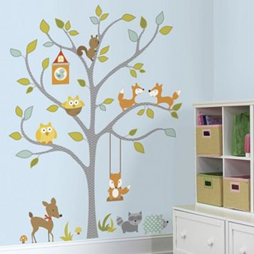 Woodland Fox & Friends Tree Wall Decals
