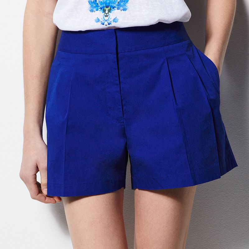 MILLY for DesigNation Solid Pleated Shorts - Women's