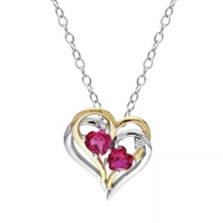 Simulated Ruby and Diamond Accent Sterling Silver Two Tone Double Heart Pendant Necklace