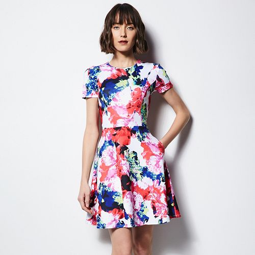 MILLY for DesigNation Floral Fit & Flare Scuba Dress - Women's