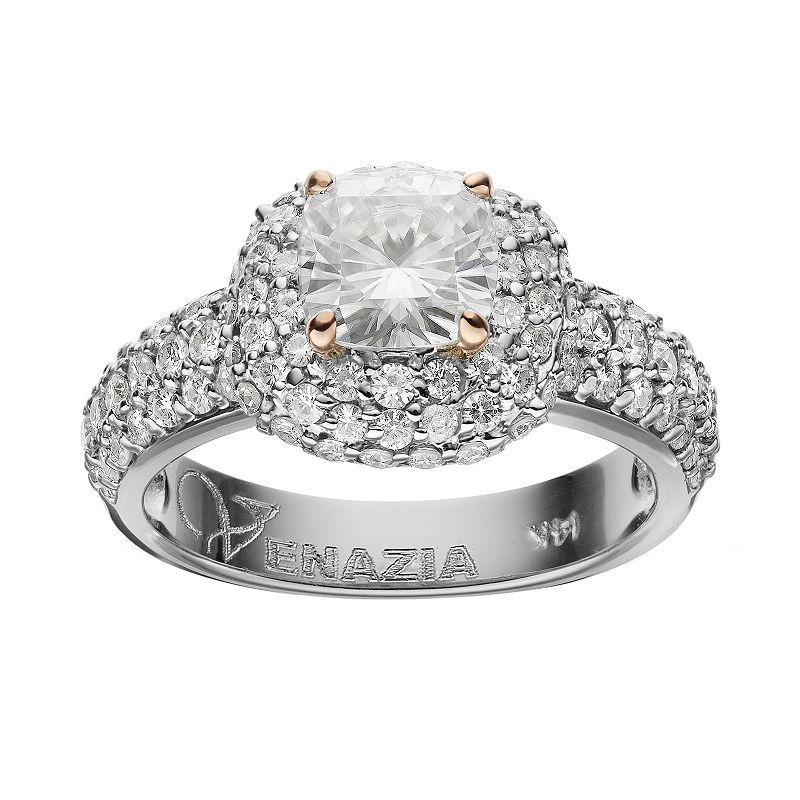 Forever Brilliant 2 3/4 Carat T.W. Lab-Created Moissanite 14k White Gold Tiered Cushion Ring