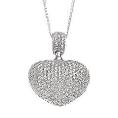 Sophie Miller Cubic Zirconia Sterling Silver Openwork Heart Pendant Necklace