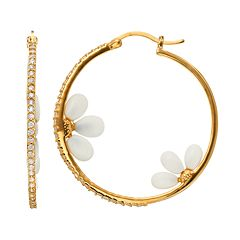 Sophie Miller Cubic Zirconia & Simulated White Agate 14k Gold Over Silver Floral Hoop Earrings