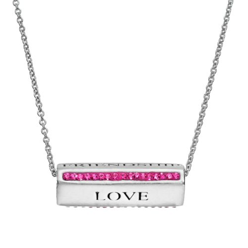 """Crystal Silver-Plated """"Love, Cherish, Friendship"""" Spinner Bar Pendant Necklace"""