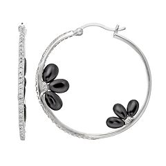 Sophie Miller Cubic Zirconia & Onyx Sterling Silver Floral Hoop Earrings