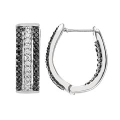 Sophie Miller Cubic Zirconia Sterling Silver U-Hoop Earrings