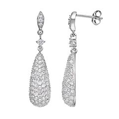 Sophie Miller Cubic Zirconia Sterling Silver Teardrop Earrings