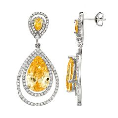 Sophie Miller Canary & White Cubic Zirconia Sterling Silver Halo Teardrop Earrings
