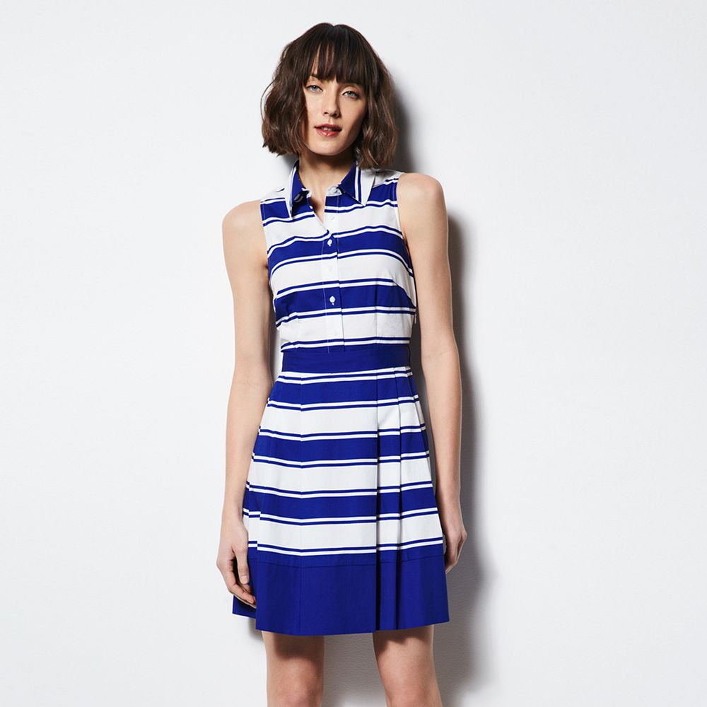 MILLY for DesigNation Striped Pleated Shirt Dress - Women's