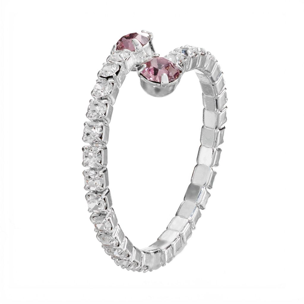 Duchess of Dazzle Crystal Silver-Plated Bypass Ring