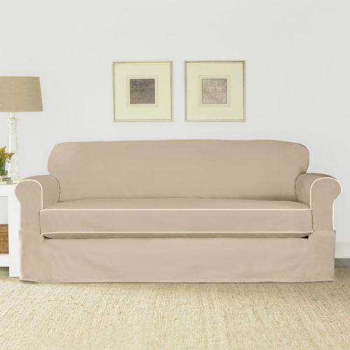 Sure Fit Spectator Canvas 2 Pc Sofa Slipcover Petite