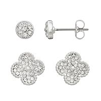 Duchess of Dazzle Crystal Silver-Plated Clover Stud Earring Set