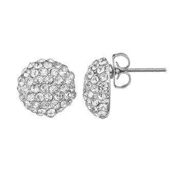 Duchess of Dazzle Crystal Silver-Plated Button Stud Earrings
