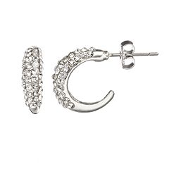 Duchess of Dazzle Crystal Silver-Plated Hoop Earrings