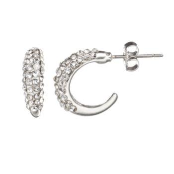 Duchess of Dazzle Crystal Silver-Plated Hoop Earrings