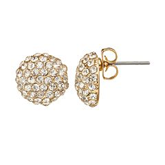 Duchess of Dazzle Crystal 14k Gold-Plated Button Stud Earrings