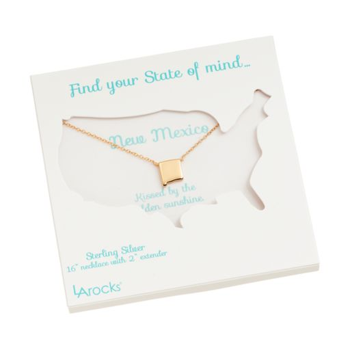 14k Gold Over Silver State Necklace