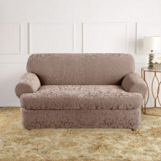 Sure Fit Stretch Jacquard Damask 2-pc. T-Cushion Sofa Slipcover